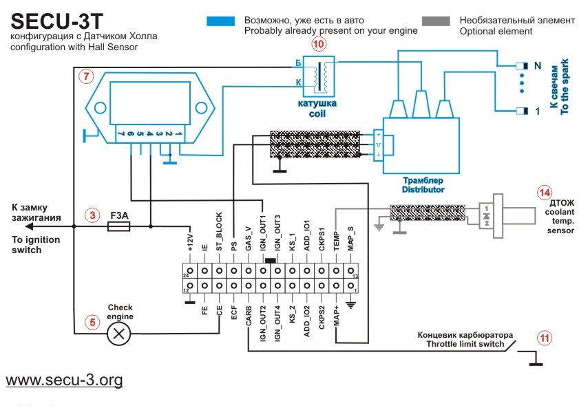 wiring diagrams for secu 3t 24 pins connector МПСЗ secu 3 secu 3 hall sensor and distributor minimal wiring diagram