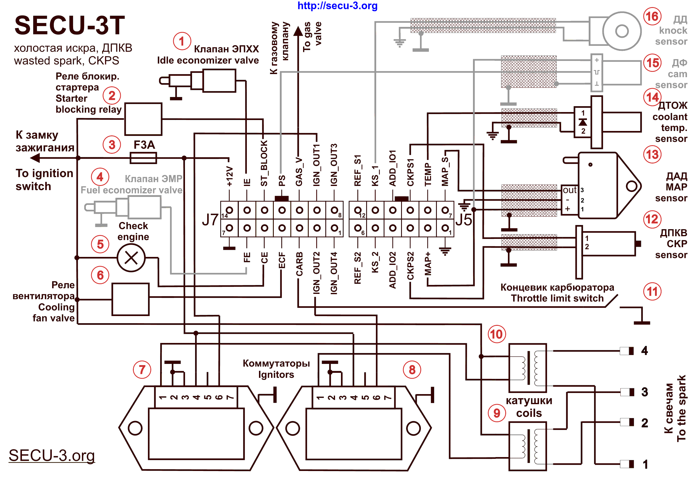 SECU 3T_WS_CKPS_14+12 wiring diagrams for secu 3 units (examples) ���� secu 3 wasted spark wiring diagram at aneh.co