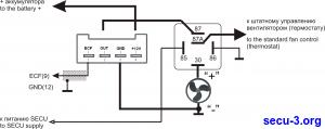 Подключение вентилятора к SECU с регулировкой скорости и штатному термостату