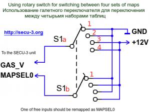 Переключение между 4-мя наборами таблиц галетным переключателем