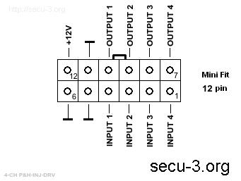 Внешний разъем блока 4-х канально P&H драйвера низкоомных форсунок