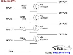 Принципиальная электрическая схема SECU-IGN-DRV4