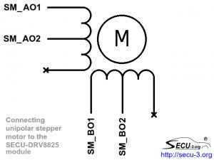 SECU-DRV8825 подключение униполярного шагового двигателя