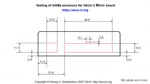 SECU-3 Micro Отверстия в корпусе для разъемов