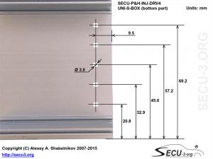SECU-P&H-INJ-DRV4 отверстия для транзисторов в нижней крышке
