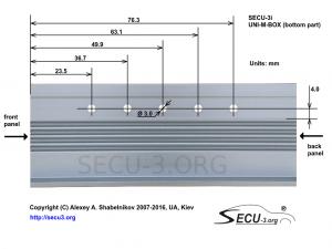 SECU-3i Отверстия для крепления транзисторов в боковой стенке нижней части корпуса